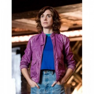 Alison Brie Glow Ruth Wilder Purple Leather Jacket