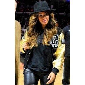 Beyonce Golden And Black Leather Jacket for Women