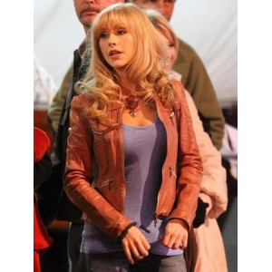 Christina Aguilera Brown Leather Jacket