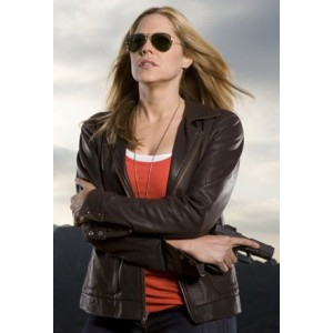 In Plain Sight Mary McCormack Brown Leather Jacket