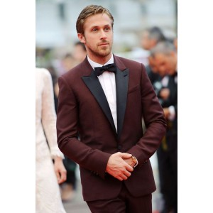 Ryan Gosling Burgundy Prom Tuxedo 2 Piece Suit