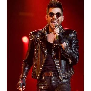 Adam Lambert Black Leather Studded Jacket