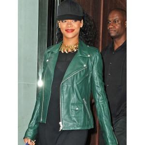 Rihanna Green Biker Pure Leather Jacket