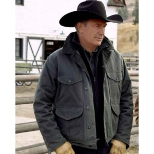 John Dutton Yellowstone Season 2 Cotton Black Jacket